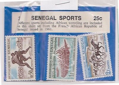 (V6-82) 1961 Senegal old stamps pack 3stamps sport (CE)