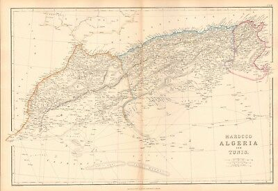 1859  Large Antique Map - Weller - Africa-Morocco, Algeria And Tunis