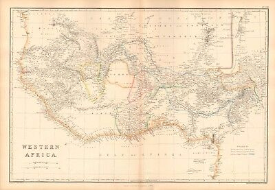 1859  Large Antique Map - Weller - Africa- Western Africa