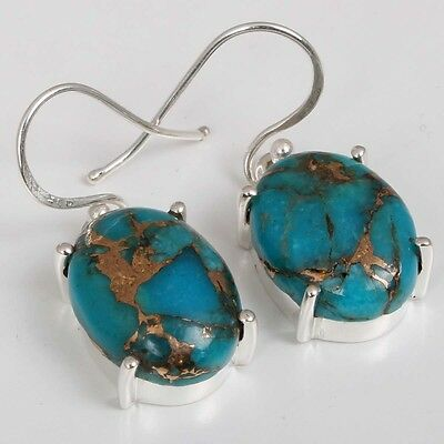 925 Solid Sterling Silver Gemstone Cabochon BLUE COPPER TURQUOISE Earring C5579