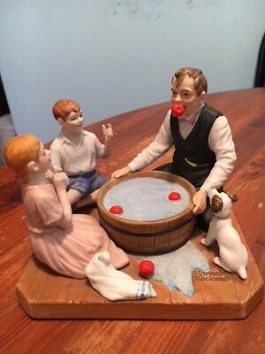 "Norman Rockwell Museum figurine "" Bobbing For Apples"" 1982 mint cond."