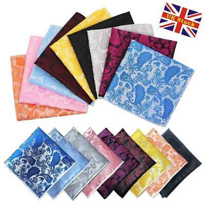 Men Paisley Jacquard Silk square Wedding pocket Hanky Handkerchief UK