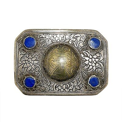 (1863) Antique Afghan belt decoration in silver and lapis lazuli