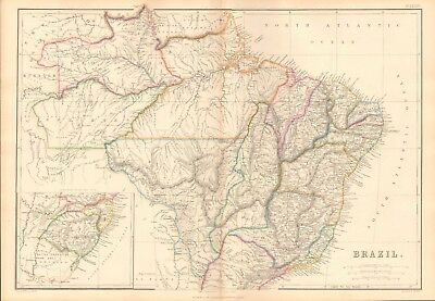 1859  Large Antique Map - Lowry- Brazil