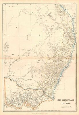 1859  Large Antique Map - Bartholomew - New South Wales And Victoria