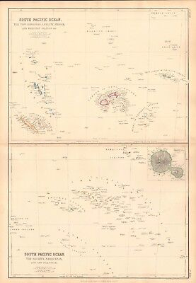 1859  Large Antique Map - Bartholomew - South, North Pacific Ocean, Tahiti,
