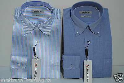 2 Camicie Classiche Uomo Collo 42 Button Down Manica Lunga Cotone Facile Stiro