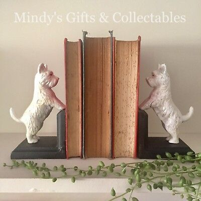 Pair of Heavy Antique Style Cast Iron Scottie Dog Terrier Book Ends Bookends