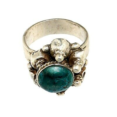 (1858)Vintage silver and turquoise ring from Pakistan.