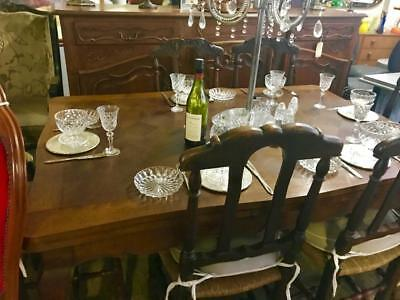 Long Antique French Oak Parquetry 2 Draw Leaf Extension Dining Table Seats 8-12