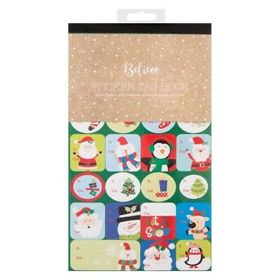104 Glitter Labels Christmas Tag STICKER Gift Tags Name Xmas Present Labelling