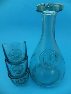 Vintage Glass Carafe Jug Clear Blue Colour with King ? Seal + 3 Cups Wine Pourer