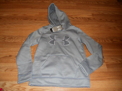 NWT Girl's Youth LARGE Gray Under Armour Coldgear Storm Hoodie 1282104