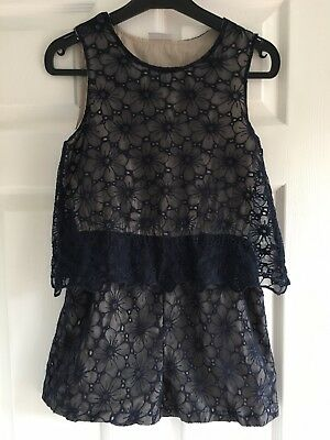 Girls Navy Lace  playsuit
