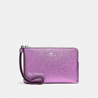 New Authentic Coach F21070 Metallic Crossgrain Leather Corner Zip Wristlet Lilac