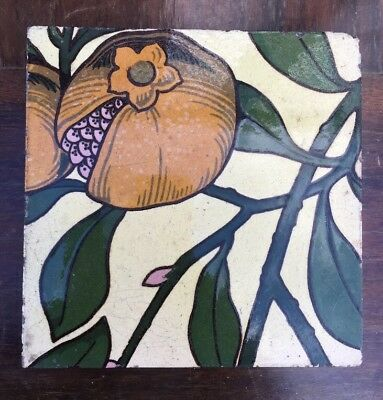 Original Antique Art Nouveau Minton Tile, Pomegranate