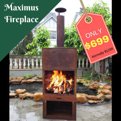 Outdoor Fireplace Free Standing Sturdy Metal Furness Chiminea Flue Cooking Gr...