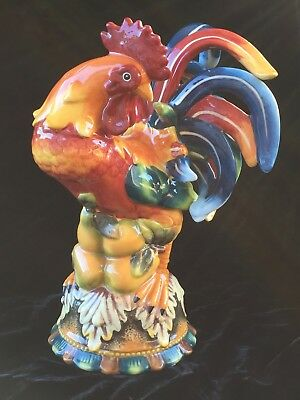 """Christmas Gift Ceramic Rooster Farm Barn Figure Statue Collectible Bright 9-1/2"""""""