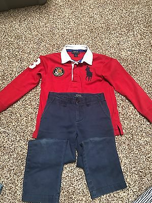 Boys Polo By Ralph Lauren Shirt And Pants - Size 5 - Excellent Condition