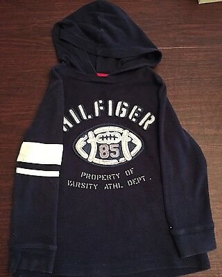 Toddler Boy Size 4T Tommy Hilfiger Long Sleeve Athletic Shirt Blue Hoodie Euc!!