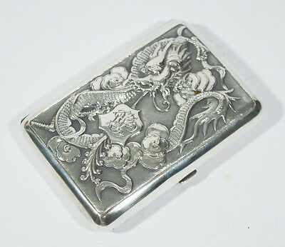 Antique Chinese Export Silver By Wang Hing Cigarette Case Box Dragon Shanghai