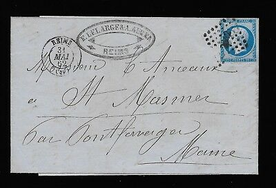 France 1862 wrapper Reims to Font-Faverger. Napoleon III. Good condition. Look.