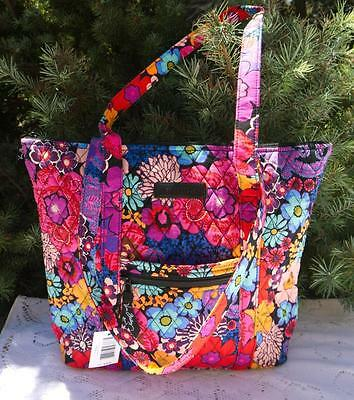 Nwt $78 Vera Bradley Villager Tote Shoulder Purse - Floral Fiesta