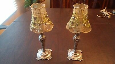 Victorian Style Vintage Silver Plate Candle Holders With Shades