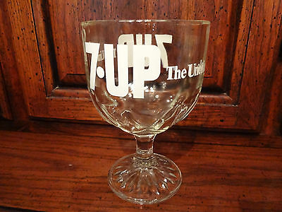 Vintage 7Up The Uncola 7-Up Clear Glass Goblet  Soda Advertising