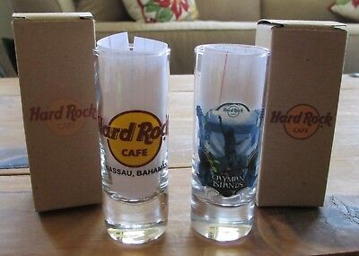 XNice 2pc HARD ROCK Shot Glass Lot CAYMAN ISLANDS & NASSAU BAHAMAS (#14