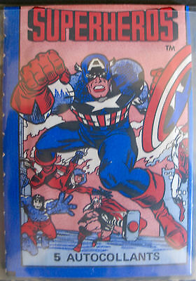 Rare Full Set 180 French Marvel Superheros Stickers 1980 Mint Incl's 2 Wrappers