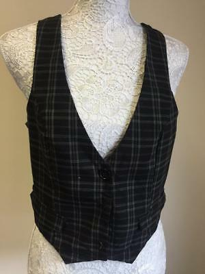 Lucy Lucy Lover Womens Black Checked Cotton Blend Waistcoat Size 14 (021)