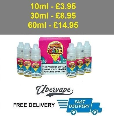 VAPER TREATS/FLAWLESS ICE Cream Cake- 2mg - 10ml, 30ml or 60ml e-liquid  Juice