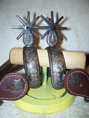 Never Used Vintage Double Inlaid/Mounted Silver Mexican Cowboy Spurs