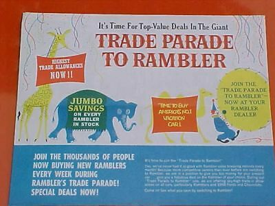 1962 Amc Rambler Parade Color Sales Fold-Out Into Large Poster Of Cars Rare Vg