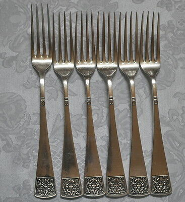 Antique Silver 800 Six Dining Forks 428 g