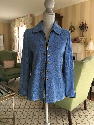 St. John Collection by Marie Gray Blue Black Zip Up Jacket Cardigan Sz 4