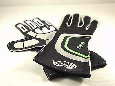 Speed Racewear Sirus Black & Green Kart Racing Gloves | Karting Track Day