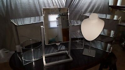 7 pc SET showcase beauty accessory DISPLAY acrylic stands shelves mirror jewelry
