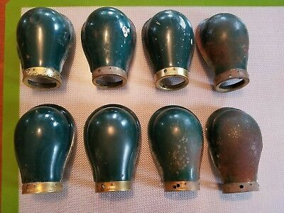 Lot Of 8 Hubbell Antique Light Lamp Shade Green Porcelain And Brass