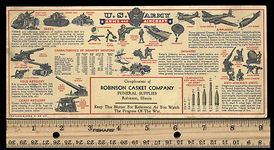 "WW2 Army ""Arms and Aircraft"" ink blotter, Robinson Funeral Casket Company, 1942"