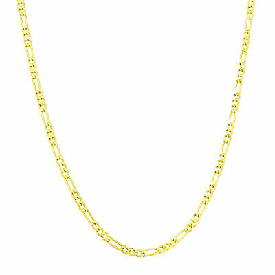 """10K Real Yellow Gold 2.5mm Italian Figaro Chain Link Pendant Necklace 16""""- 26"""""""