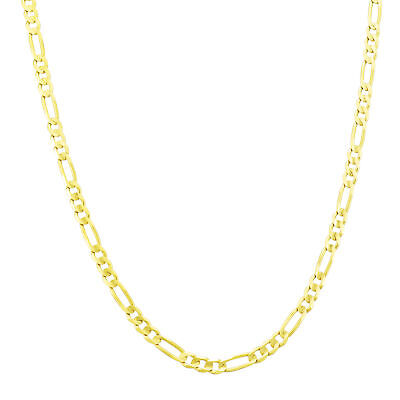 """10K Pure Yellow Gold Real 3.5mm Italy Figaro Chain Link Pendant Necklace 16""""-30"""""""