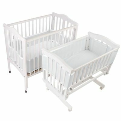 Baby Mesh Crib Liner for Portable and Cradle Satin Trim Finish Soft Padded