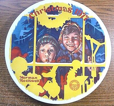 """Norman Rockwell """"the Toy Shop Window"""" Christmas Plate 1977 Box, Certificate"""