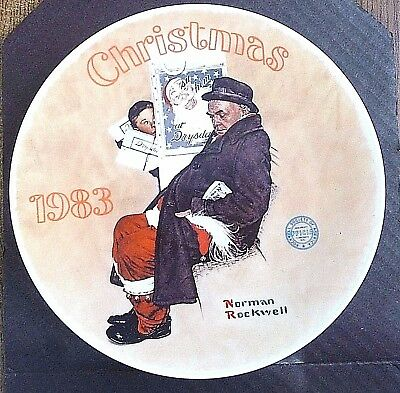 """Norman Rockwell Christmas Plate """"santa In The Subway""""1983 In Box,"""