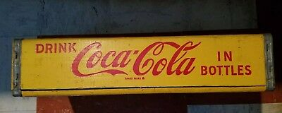 Vintage 1969 Coca-Cola Yellow Wood  BOTTLE CASE Carrier Crate 24 Dividers