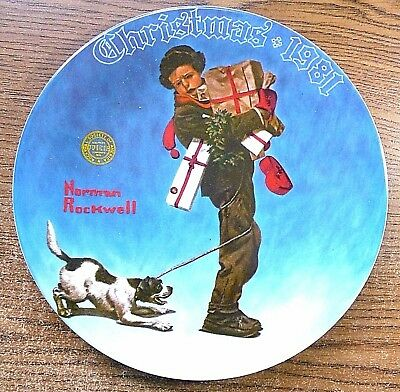 """Norman Rockwell Christmas Plate """"wrapped Up In Christmas""""1981 Box, Certificate"""
