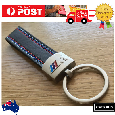 BMW M Sport Keyring key ring Leather Stainless Steel Chain OEM Quality AUS STOCK