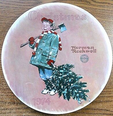 """New.  1974  Norman Rockwell Christmas Plate """"scotty Gets His Tree""""  In Box"""